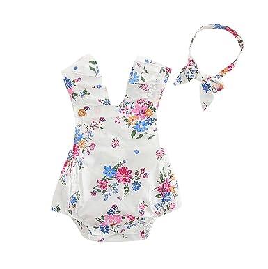 6e1e91e0822cb Bonjouree 2pc Barboteuse Bebe Fille et Bandeau à Fleurs Combinaison Sans  Manches Ensemble de vêtements ete