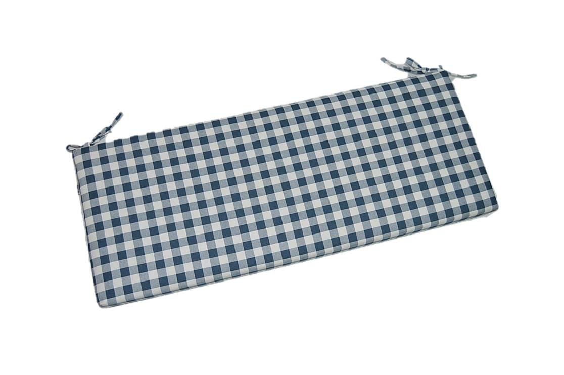 Navy Blue Plaid / Country Checkered / Checkerboard 2'' Thick Foam Swing / Bench / Glider Cushion with Ties and Zipper - Choose Size (38'' x 18'')