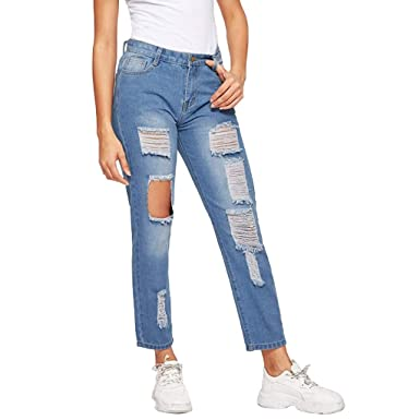 6e350fc2a0 Amazon.com: Hemlock Women's Ripped Jeans Straight Leg Pants Teen Girls Denim  Trousers Students Casual Long Denim Jeans: Clothing