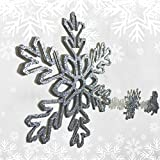 Banberry Designs Silver Glittered Christmas Garland - Large Silver Snowflakes Strung Together - 4 1/2'' Foot Long - Silver and White Christmas Decorations
