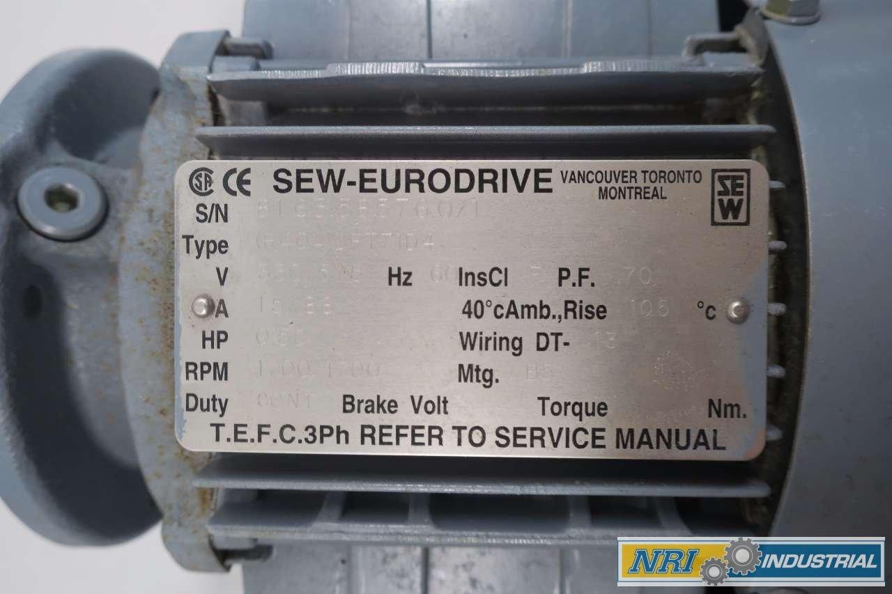 Sew Eurodrive R40a Dft71d4 1 2hp 330 575v Ac 1700rpm Electric Motor Wiring D556289 Industrial Scientific