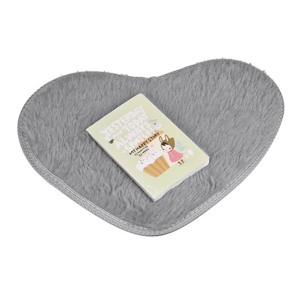 Sothread 40x28cm Non-slip Heart-shaped Bath carpet Mats Kitchen Area Rug Home Decor (Gray)