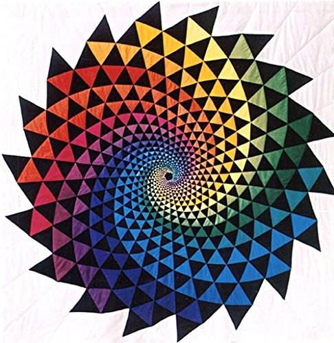 One of a Kind Textile Wall-hanging Art Quilt Tapestry, Vortex, Rainbow Color, Home Business - Quilt Vortex