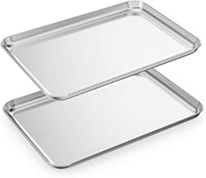 Baking Sheets Set of 2, HKJ Chef Cookie Sheets 2 Pieces & Stainless Steel Baking Pans & Toaster Oven Tray Pans, Rectangle Size 17.5 x 13 x 1 inch & Non Toxic & Healthy & Easy Clean
