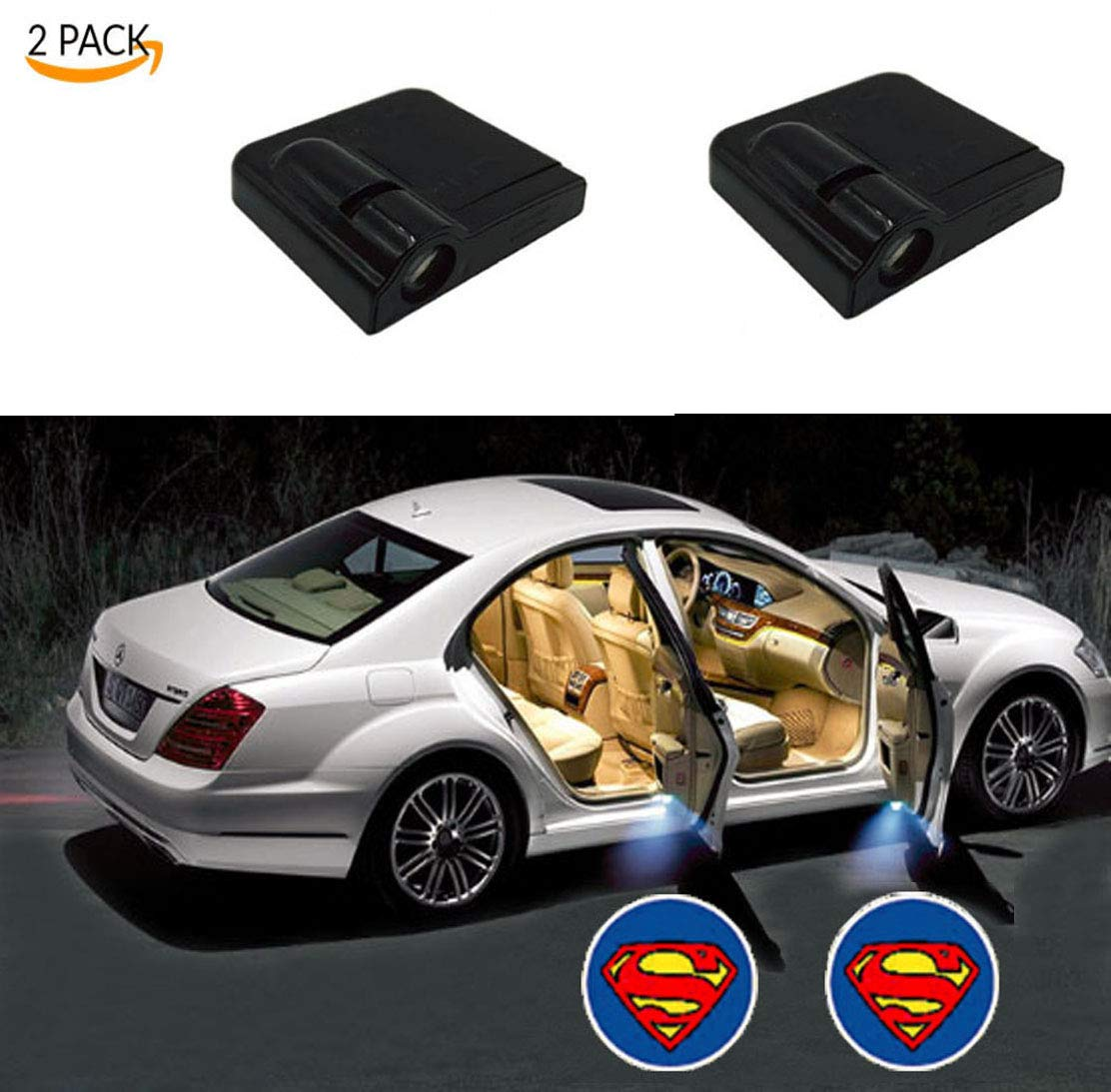 Toogod 2-Pack Spiderman Welcome Logo Wireless Battery Operated LED Car Door Light Projector Courtesy Ghost Shadow Light Magnet Sensor