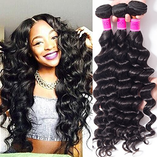 RECOOL 8a Cheap Brazilian Loose Deep Curly Weave Bundles Wet and Wavy Human Hair Extensions 4 Bundles of Brazilian Loose Deep Hair On Sale Natural Color (12 14 16 18)