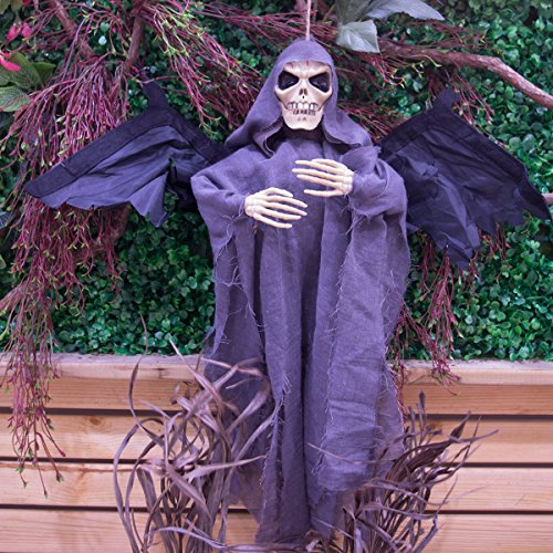 ON'H 24 Inch Sound Control Creepy Scary Animated Skeleton Ghost Halloween Party Decoration for KTV Bar Haunted House – (Animated Ghost)