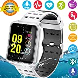 Smart Watches, IP68 Waterproof Sports Fitness Tracker with Heart Rate Blood Pressure Monitor for Men Women Kids Boys Girls Gifts Pedometer Wearable Smartwatch Wrist Watch for Travel Camping (Silver)
