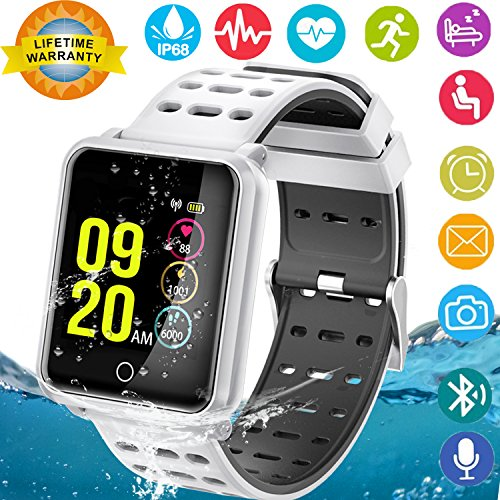 Smart Watches, IP68 Waterproof Sports Fitness Tracker with Heart Rate Blood Pressure Monitor for Men Women Kids Boys Girls Gifts Pedometer Wearable Smartwatch Wrist Watch for Travel Camping (Silver) by GBD