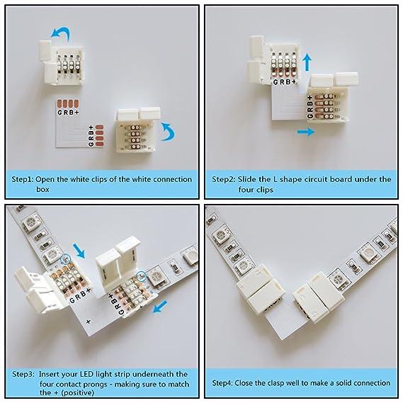 Amazon.com: AspenTek 4 Pin 90 Degree Right Angle Corner Connector ...