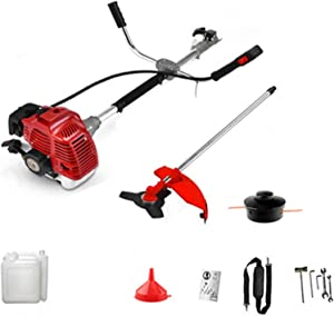 Duifin 2 in 1 Brush Cutter,Petrol Garden Brush Bush Cutter 52cc Grass T-Rimmer Strimmer Lawn Mower for Home and Garden Outdoor Maintenance Tools【US Stock】 (Red-A)
