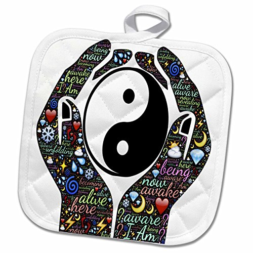 3dRose Spiritual Awakenings-Sayings and Slogans - Motivational cupped hands with sayings and yin and yang sign - 8x8 Potholder (phl_214650_1)