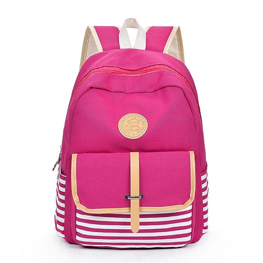 Student Backpack,Chartsea Women Girls Canvas Preppy Shoulder Bookbags School Travel Backpack Bag (Purple)