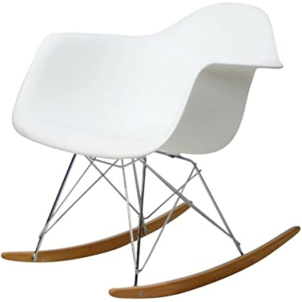 Pleasant Amazon Com Plastic Rocking Chair With Wooden Base White Mid Bralicious Painted Fabric Chair Ideas Braliciousco