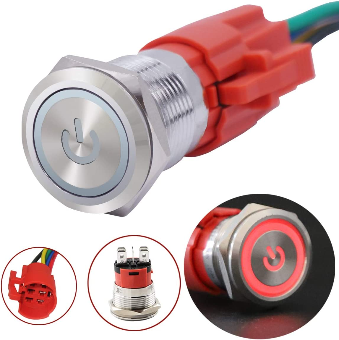 5 Year Warranty YJ-GQ16BF-D-L-Y Yellow LED Ring Switch 1NO 1NC with Wire Socket Plug TWTADE 16mm IP65 Waterproof Latching Power Metal Push Button Switch 5//8 5A DC12V Stainless Steel Shell
