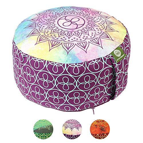 Lotus Design Meditationskissen/Yogakissen rund, Chakra Muster, 15 cm hoch, Bezug 100% Baumwolle waschbar, Yoga…