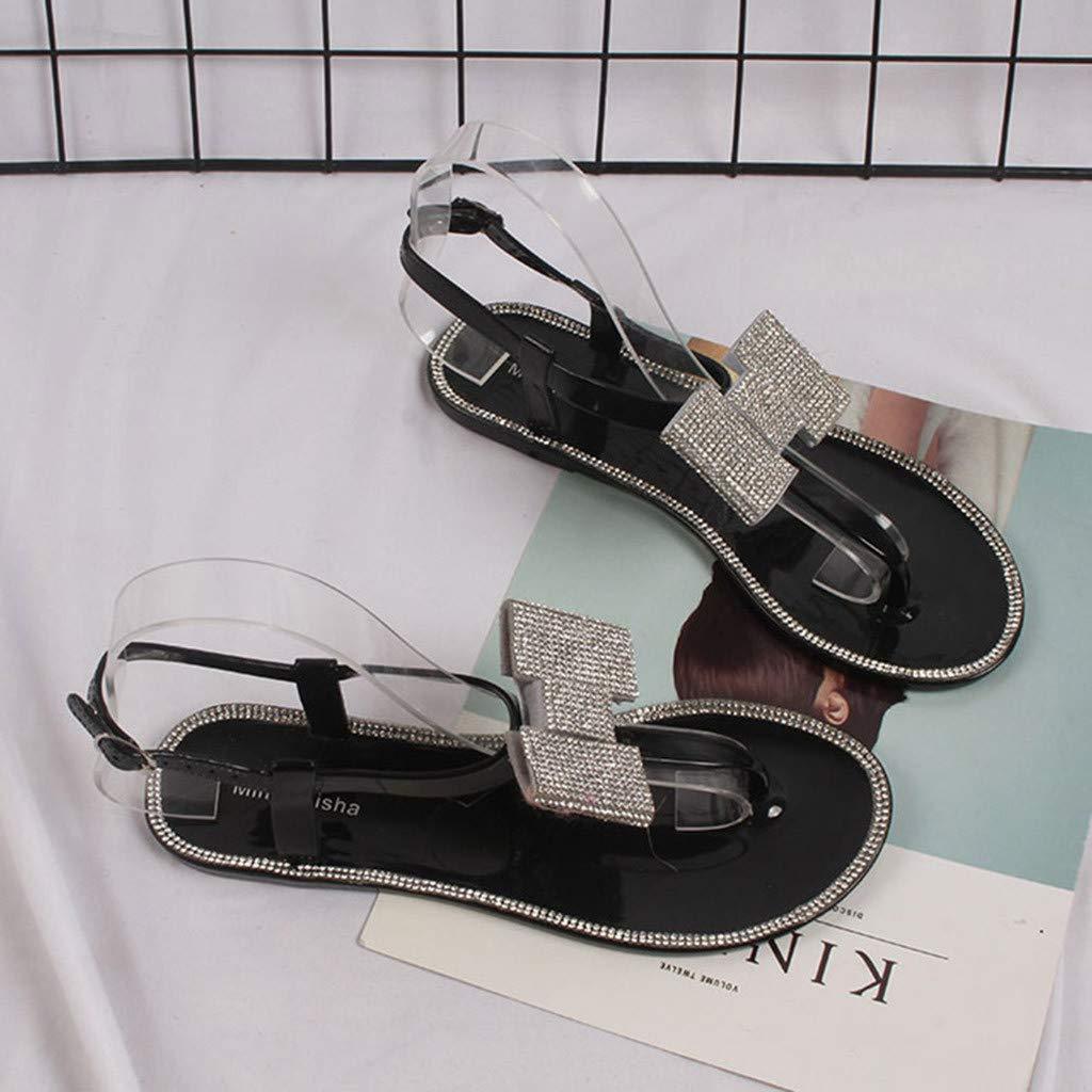 ZOMUSAR Beach Summer Women Clip Toe Flip Flops Bohemian Flat Heels Sandals Soft Shoes Diamond Bow Sandals