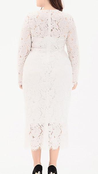 0b4c0884f6d Eternatastic Womens Floral Lace Long Sleeve Plus Size Lace Dress Black  H-Q0082