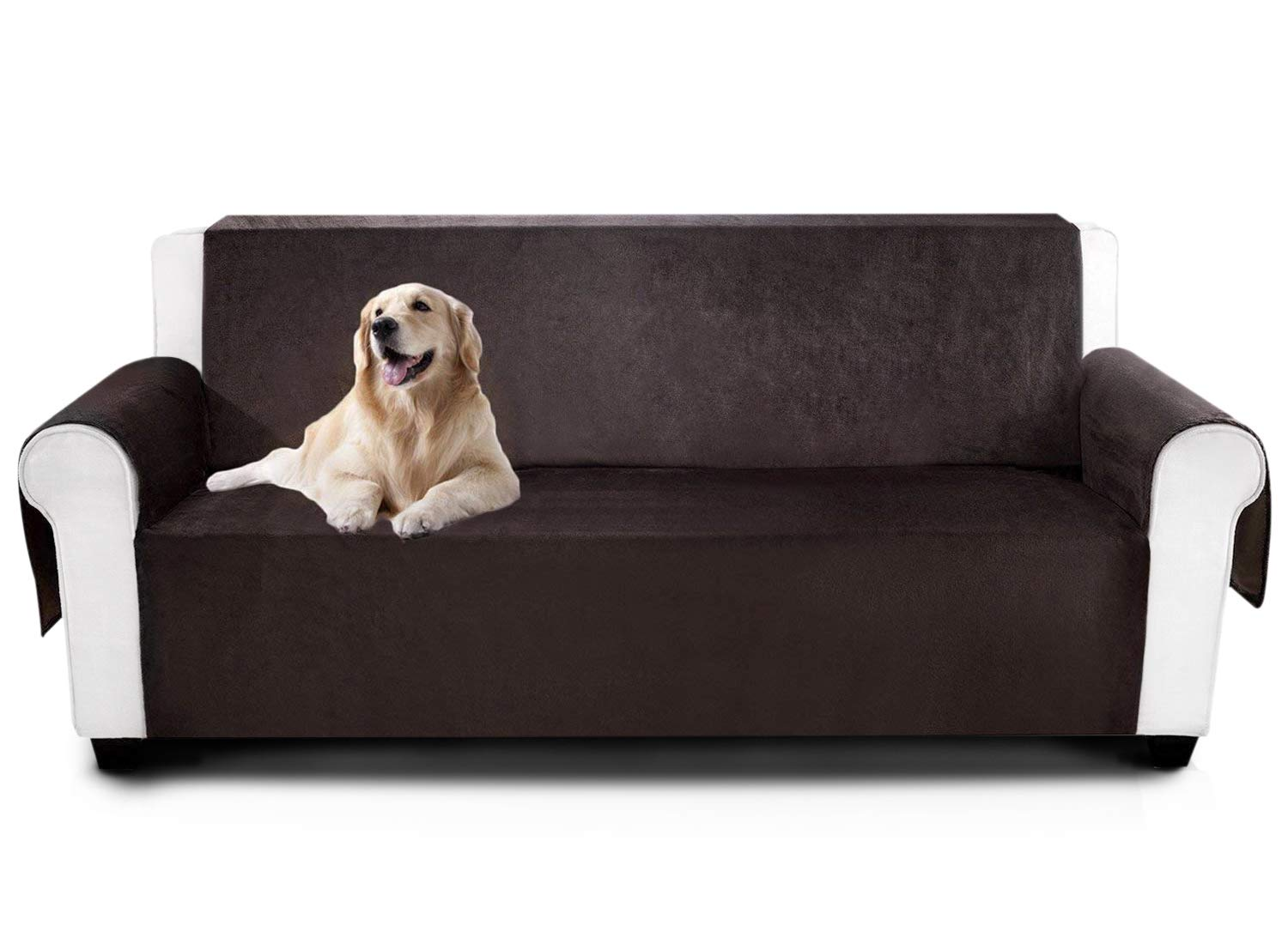 YEMYHOM Real Non-Slip Pet Dog Sofa Covers Protectors Water-Repellent Recliner Couch Slipcovers with Pockets (Loveseat, Coffee)