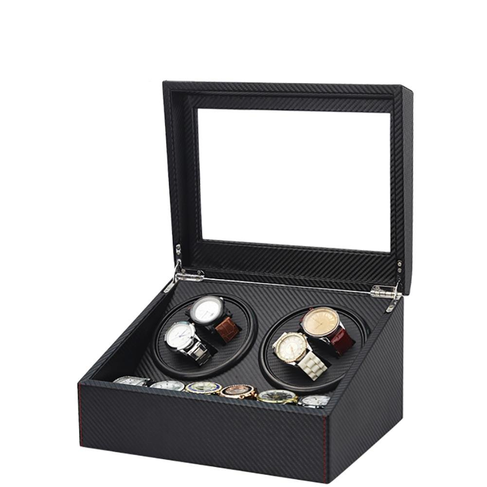 jianbo Watch Winders Storage Display Box Case Organizer Jewellery Wristwatch with Cushion watch drawer Watches for Men High Grade Luxurious Cover Jewelry Drawer PU (electric motor shaking) 02, black