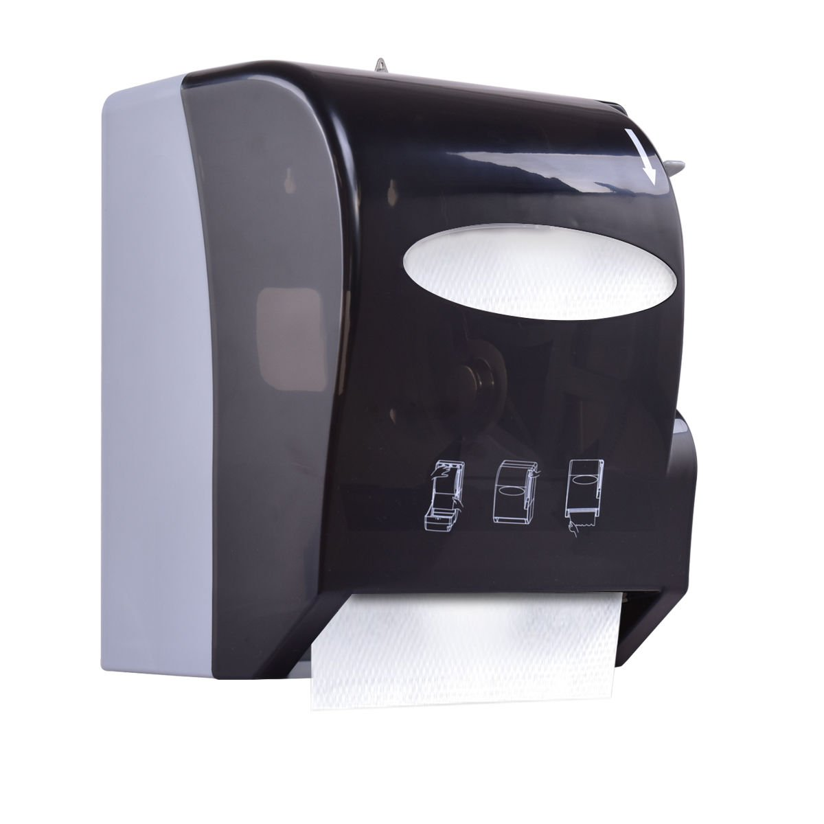 Costway Lever Roll Paper Towel Dispenser Wall Mount Heavy Duty (Black)