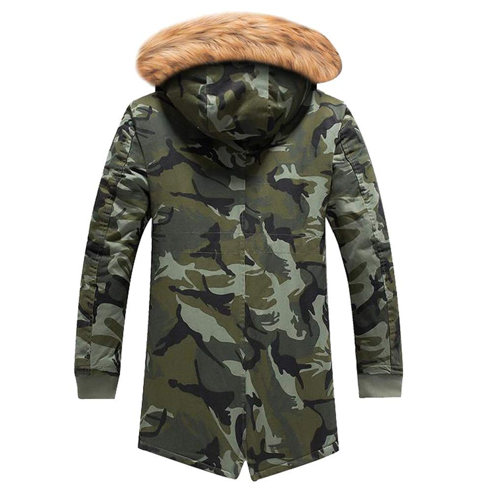 Amazon.com: MODOQO Winter Warm Coat for Men Plus Size Camo Long Trench Zipper Hooded Jacket: Clothing