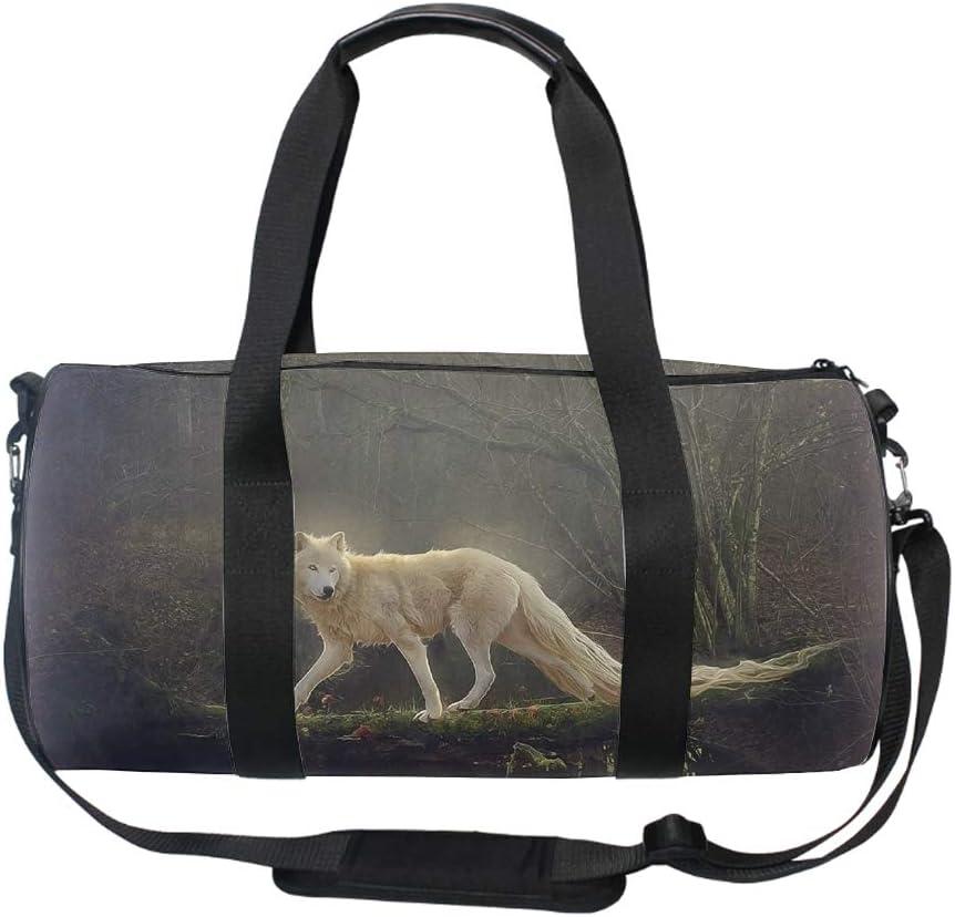 Beautiful Wolf Medium Gym Bag with Shoe Compartment Men Duffel Bag