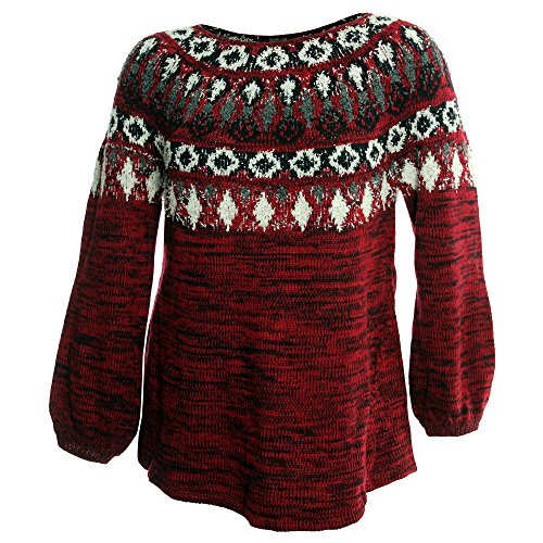 Style & Co. Womens Plus Fair Isle Space Dyed Pullover Sweater Red 0X