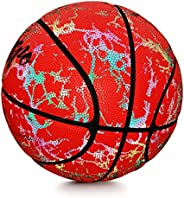 Geemspo-Holographic Reflective Glowing Basketball Official Size 7/29.5inch, Light up Glow Basketball- Special