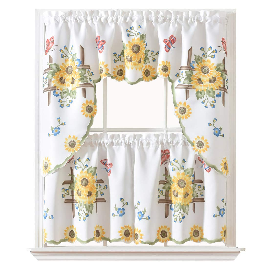 """GOHD - 3pcs Kitchen Curtain/Cafe Curtain/Swag & Tiers Set, Air-Brushed by Hand of Sunflower & Butterfly Design on Thick Satin Fabric (Swag & 24"""" Tiers Set)"""
