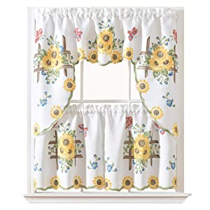 "GOHD - 3pcs Kitchen Curtain/Cafe Curtain/Swag & Tiers Set, Air-Brushed by Hand of Sunflower & Butterfly Design on Thick Satin Fabric (Swag & 24"" Tiers Set)"