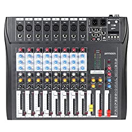 ammoon 8 Channel Mixer Digtal Mic Line Audio Mixing Console with 48V Phantom Power for Recording DJ Stage Karaoke Music…