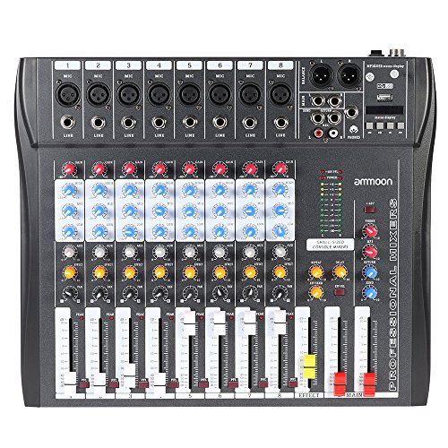 ammoon CT80S-USB 8 Channel Digtal Mic Line Audio Mixing Mixer Console with 48V Phantom Power for Recording DJ Stage Karaoke Music Appreciation (Audio Recording Mixer)