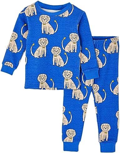 León Pijama Para Niños Cálido Ropa Cómoda 2 Piezas De Invierno ...