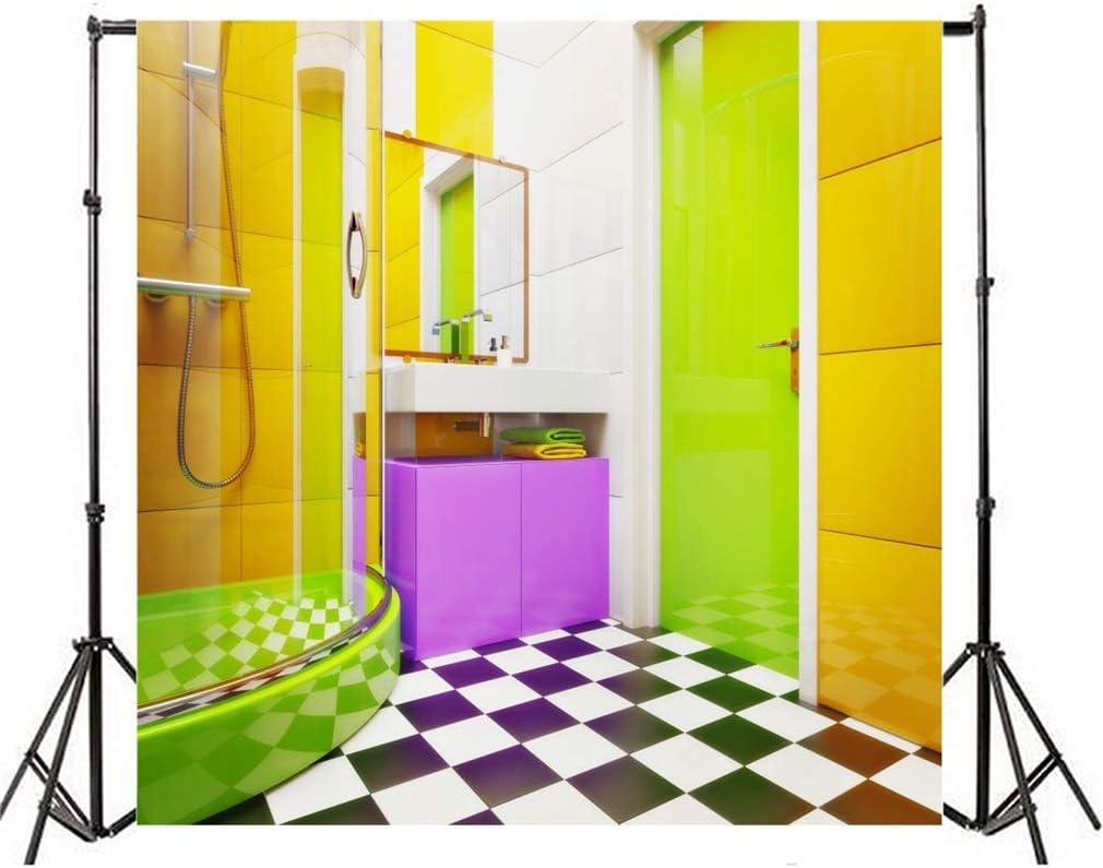 YongFoto 19x19m Toile de Fond Miroir intérieur Salle Bain Douche