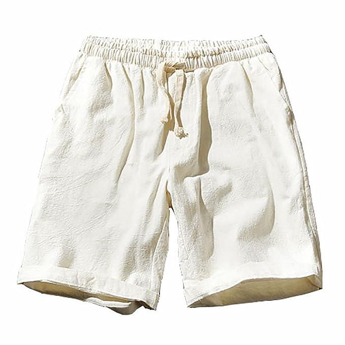 MCYs Pantaloncini Uomo Lino Bermuda Cargo Pantaloni Corti in Tinta Unita Lavoro Coulisse Elastico Uomini Estive Casual Pantaloncino Sportivi Spiaggia Surf