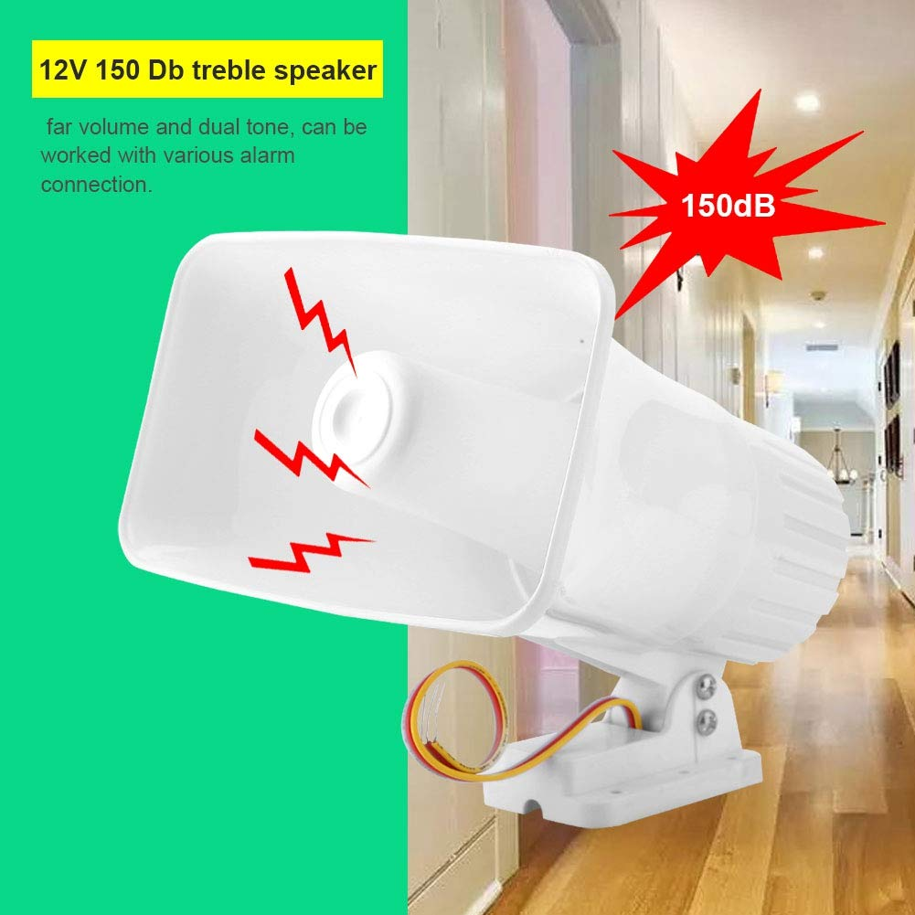 DC12V Home Alarm Siren,Bewinner 150 dB Dual Tone Wired Horn Burglar Alarm System,30W Security Siren,Support Installed Indoor or Outdoor
