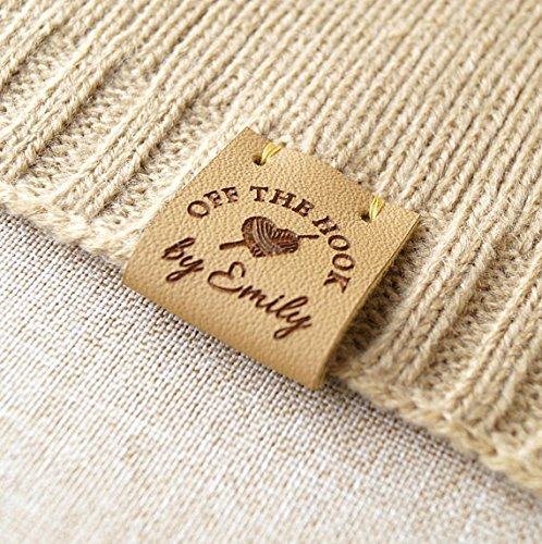 Product tags, knitting labels, labels for handmade items, leather labels for crochet, center fold labels, folding tags, set of 25 pc