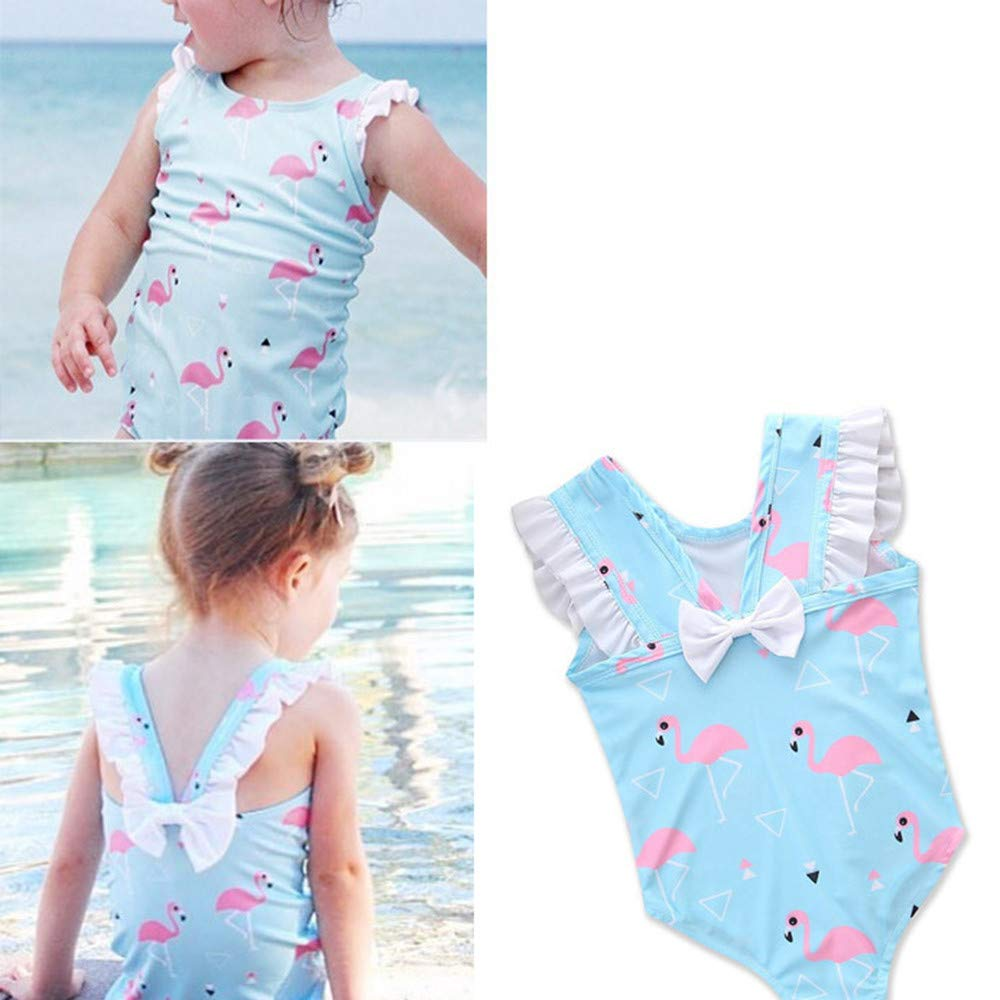FeliciaJuan Beach Sport Banded One Piece Swimsuit Girls Kids Blue Printed One-Piece Swimsuit Front Knot Princess Swimwear Bathing Suit 4-5Y Size : 5T
