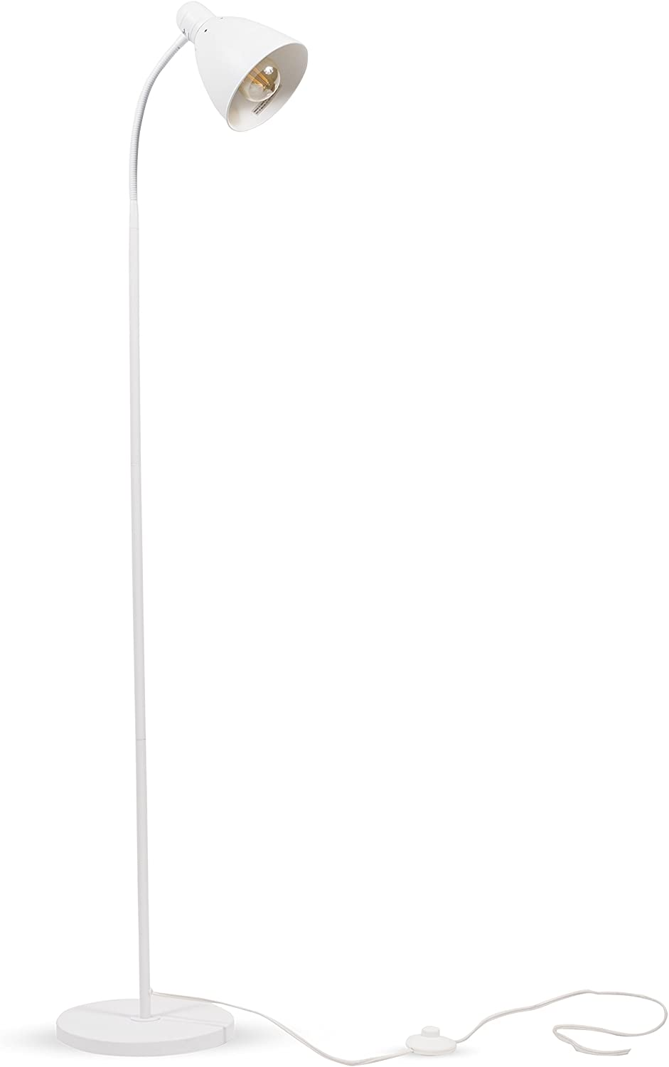 Wallniture Adjustable Reading Floor Lamp with Foot Control On Off Switch White 1 Pack