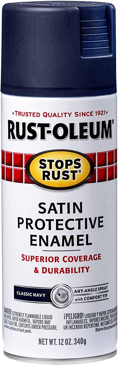 Rust-Oleum 300115 Stops Rust Spray Paint, 12 Oz, Satin Classic Navy