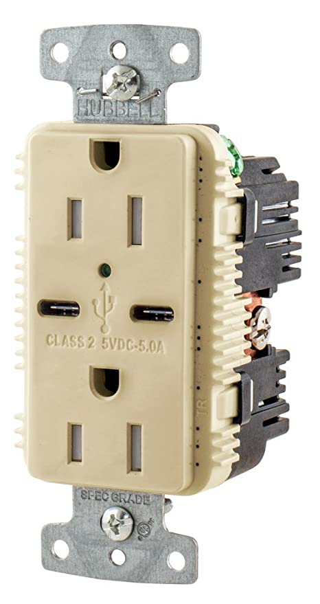 hubbell usb15c5i type c 15a usb receptacle ivory standard outlets rh amazon ca