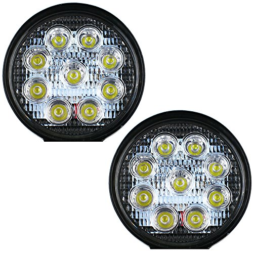 Nex 27w Led Work Light 9led Offroad Driving 4x4 Turck Boat Atv Jeep Roof Lamp 12-24v (2 Pack 27w Round Spot Beam),.