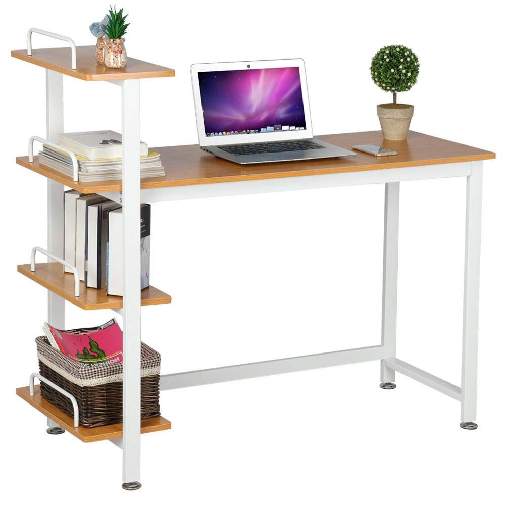 Yaheetech Computer Table with 4 Tier Bookshelves, Study Writing Desk Workstation for Home Office, Brown