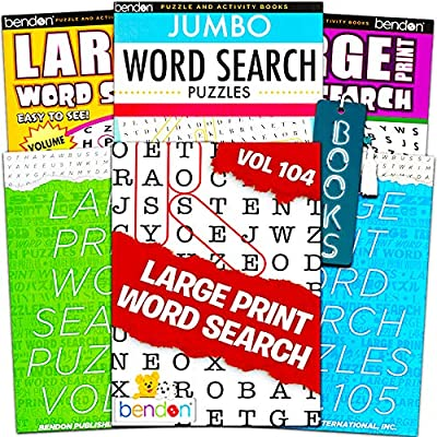 Amazon.com: Title Large Print Word Search Books For Adults Super Set -- 6  Jumbo Word Find Puzzle Books With Large Print (Over 500 Pages Total): Toys  & Games
