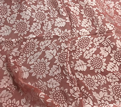 Strawberry Red Sunflowers Floral - Hand Dyed Burnout Devore Silk Satin