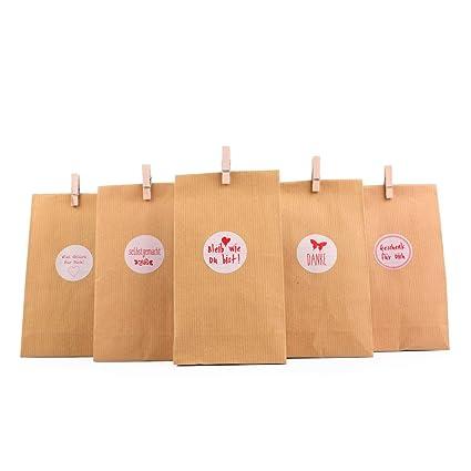 EAST-WEST Trading GmbH - Juego de bolsas de regalo «Natur», 72 piezas, 24 bolsas de regalo + 24 pegatinas + 25 minisoportes de madera. Bolsa para ...
