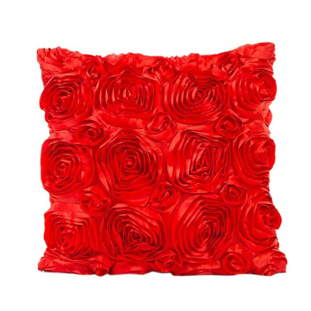 Rumfo Rose Throw Pillow Case 3D Solid Color Flower Square Pillow Cushion Cover Throw Pillow Covers Protector for Couch Sofa Home Bed Car Wedding Party Home Decor (Black)