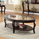 1PerfectChoice Riley Walnut Oval Coffee Table with Glass Top