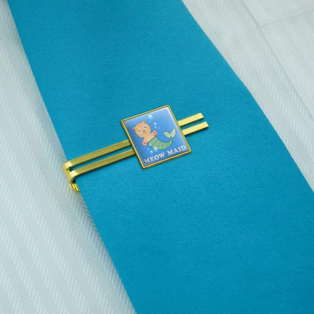 GRAPHICS /& MORE Meowmaid Cat Mermaid Funny Humor Square Tie Bar Clip Clasp Tack Silver Gold